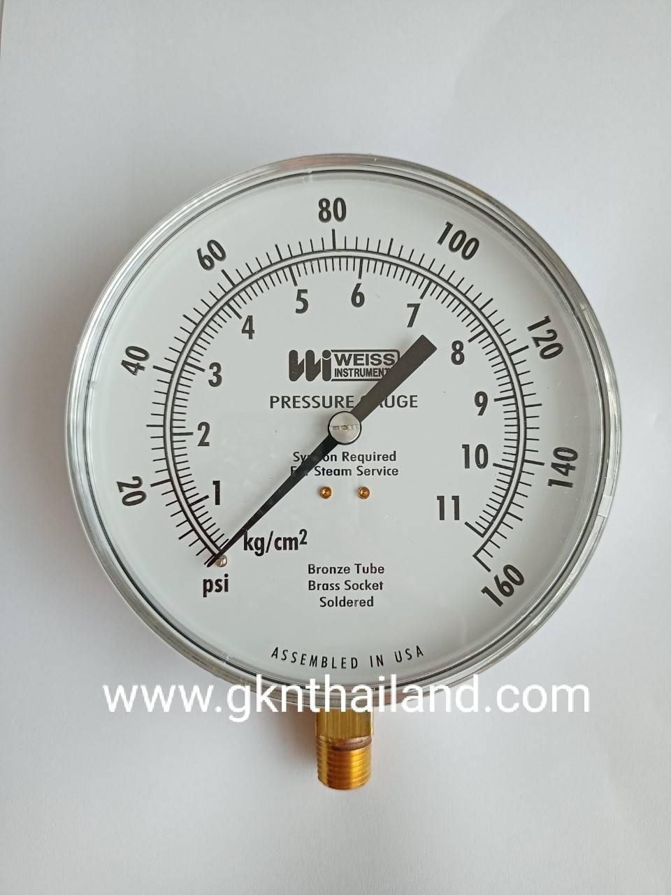 """WEISS"" Pressure gauge Model : 4CTS-1 Range 0-160 psi & 0-11 kg/cm2 Body : sus304 Dial.4.5"" Conn.brass 1/4""npt Bottom เกจวัดแรงดัน ยี่ห้อ ""Weiss"" รุ่น 4CTS-1 แรงดัน 0-160 psi & 0-11 kg/cm2 ขนาดหน้าปัทม์ 4.5"" ตัวเ"